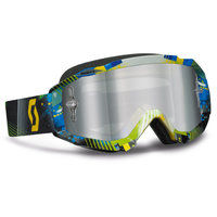 Scott Hustle MX goggle tangent blue/green gogglel silver chrome works